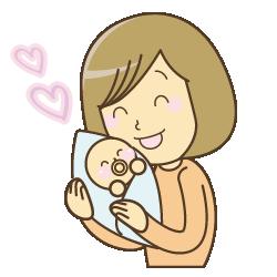 赤ちゃんを抱っこしているイラスト